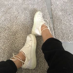Lace up platform sock sneakers